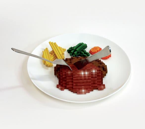 Oeuvre de Low pixel CG : Hamburger Steak
