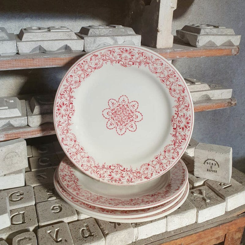 Assiette Plate 27cm, Collection CHAMBORD PERLE ROSE, Faïencerie Gien