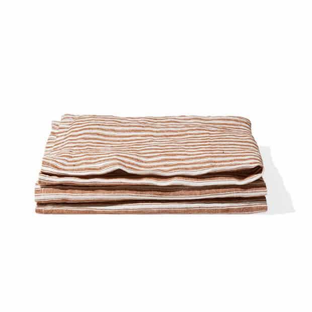 Serviettes de table rayée en pur lin lavé, Collection BRIQUE DE SIENNE, Merci Paris